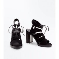 Black Suedette Block Heel Ghillie Sandals New Look