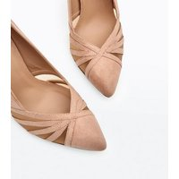 Nude Suedette Strappy Mesh Pointed Courts New Look