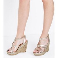 Gold Metallic Knot Strap Cork Wedges New Look