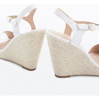 White Broderie Espadrille Wedges New Look