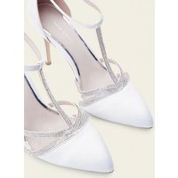 Off White Satin Diamante T-Bar Wedding Courts New Look