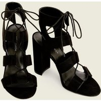 Black Suedette Lace Up Cut Out Block Heels New Look
