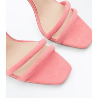 Bright Pink Suedette Padded Strap Block Heels New Look