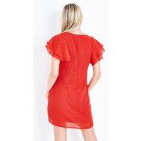 Mela Red Spot Texture Tiered Sleeve Dress New Look