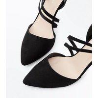 Black Suedette Asymmetric Strap Pointed Heels New Look