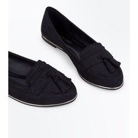 Black Suedette Faux Snakeskin Tassel Loafers New Look