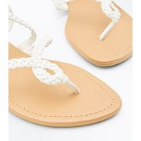 Teens White Cross Plait Strap Flat Sandals New Look