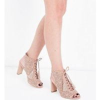 Wide Fit Nude Suedette Laser Cut Tassel Tie Heels New Look