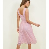 Mela Pink Stripe Texture Prom Dress New Look