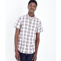 White and Red Bold Check Shirt New Look