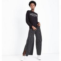 Black New York Bead Print Sweatshirt New Look