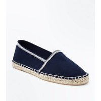 Wide Fit Navy Canvas Espadrilles New Look