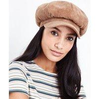 Light Brown Corduroy Baker Boy Hat New Look
