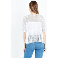 White Lace Knit Bell Sleeve Smock Top New Look
