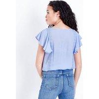 Teens Pale Blue Crochet Trim Frill Sleeve Top New Look