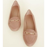 Pink Suedette Bar Front Loafers New Look