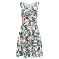 Mela White Leaf Print Dress New Look