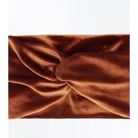 Rust Velvet Headband New Look