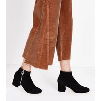 Black Premium Suede Ring Zip Ankle Boots New Look