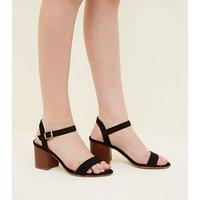 Teens Black Wood Block Heel Sandals New Look