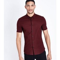 Burgundy Tile Print Muscle Fit Shirt New Look
