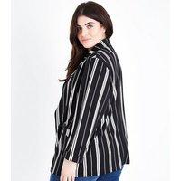 Curves Black Stripe Crepe Longline Blazer New Look