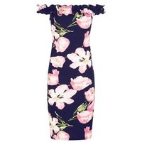 AX Paris Blue Floral Frill Bardot Neck Dress New Look