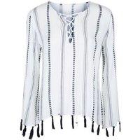 Blue Vanilla White Folk Tassel Trim Top New Look