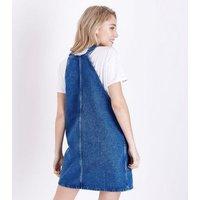 Petite Blue Denim Pinafore Dress New Look