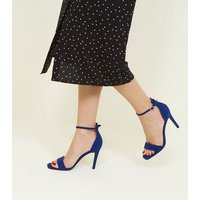 Bright Blue Suedette Square Toe Two Part Sandals New Look