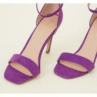 Purple Suedette Square Toe Two Part Sandals New Look