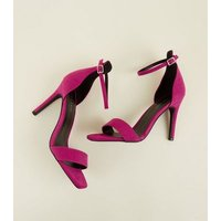 Deep Pink Suedette Square Toe Heeled Sandals New Look