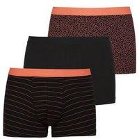 3 Pack Orange and Black Geometric Print Trunks New Look