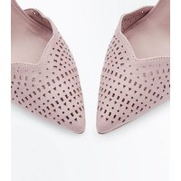 Nude Suedette Cut Out Pointed Heels New Look