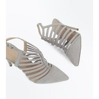 Grey Suedette Caged Pointed Stiletto Heels New Look