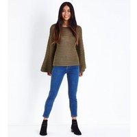 Petite Khaki Flare Sleeve Stripe Knit Jumper New Look