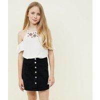 Girls Black Button Front Denim Skirt New Look