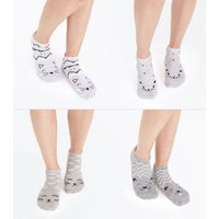 4 Pack Pale Grey Cat Face Trainer Socks New Look
