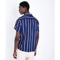 Navy Vertical Stripe Revere Collar Shirt New Look