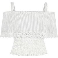 Teens White Woven Stripe Crochet Cold Shoulder Top New Look