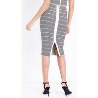 Black Stripe Bandage Pencil Skirt New Look