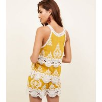 Mustard Yellow Crochet Trim Sleeveless Top New Look