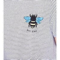 Teens White Stripe Bee Kind Embroidered Tie Front T-Shirt New Look