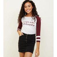 Girls Black Zip Front Denim Skirt New Look