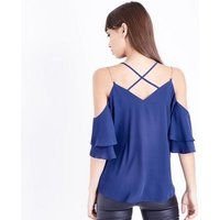 Blue Chain Strap Cold Shoulder Top New Look