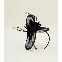 Black Mesh Feather Fascinator Headband New Look