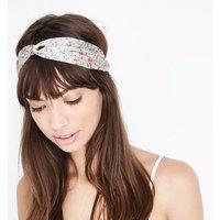 Dark Grey Ditsy Floral Twist Knot Headband New Look