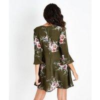AX Paris Khaki Floral Wrap Front Skater Dress New Look