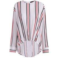 White Stripe Drawstring Shirt New Look