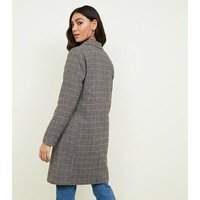 Brown Houndstooth Check Coat New Look